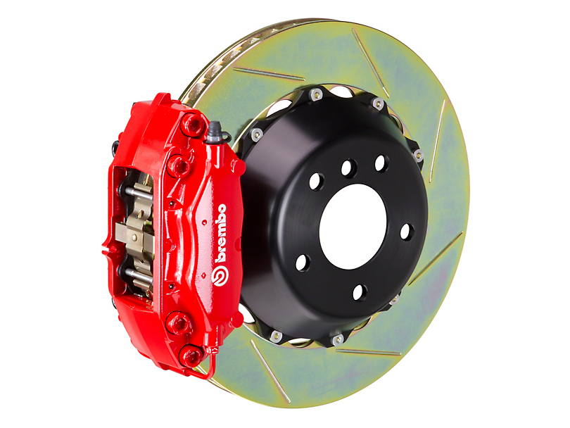 Brembo GT Series 4-Piston Front Big Brake Kit w/ Slotted Rotors - Red Calipers (05-14 GT, V6)