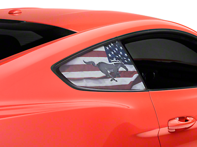 Perforated Running Pony Flag Quarter Window Decal (15-18 Fastback)