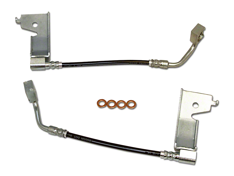 J&M Clear Outer Coating Stainless Steel Teflon Brake Lines - Rear (94-95 GT, Cobra)