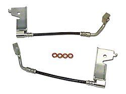 J&M Stainless Steel Teflon Brake Hose Kit; Clear Outer Cover; Rear (94-95 GT, Cobra)