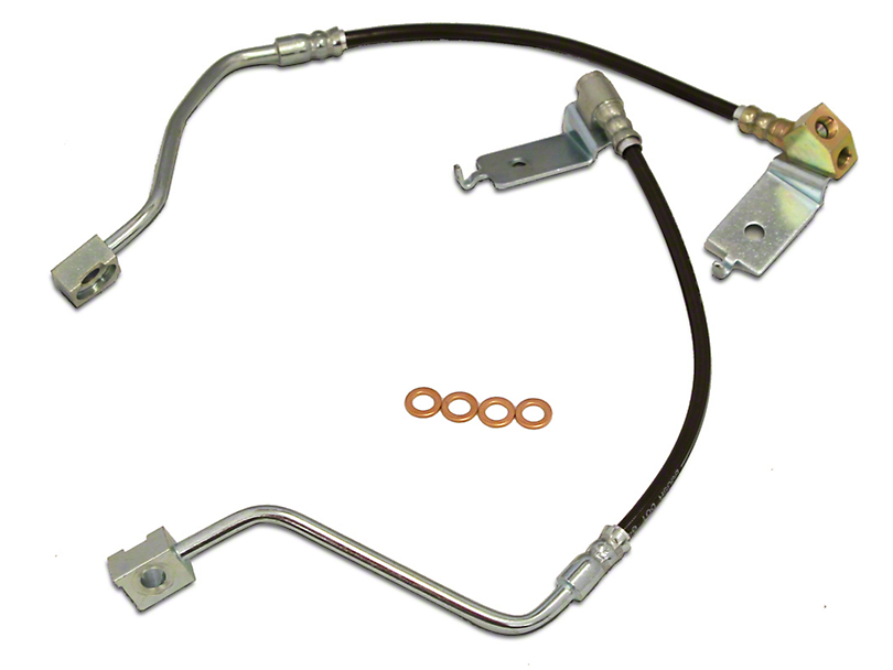J&M Clear Outer Coating Stainless Steel Teflon Brake Lines - Rear (96-98 GT, Cobra)