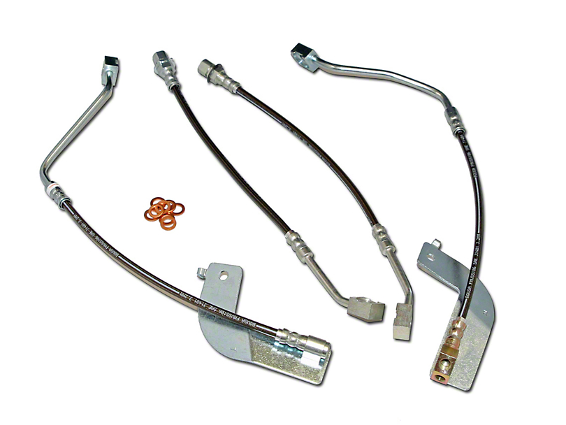 J&M Stainless Steel Teflon Brake Lines; Front and Rear (99-04 All, Excluding Cobra)
