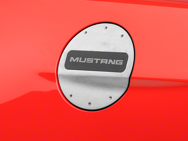 Defenderworx Fuel Door w/ Yellow Mustang Lettering - Brushed (15-17 All)