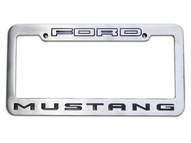 Defenderworx Brushed License Plate Frame w/ Mustang Logo (79-18 All)
