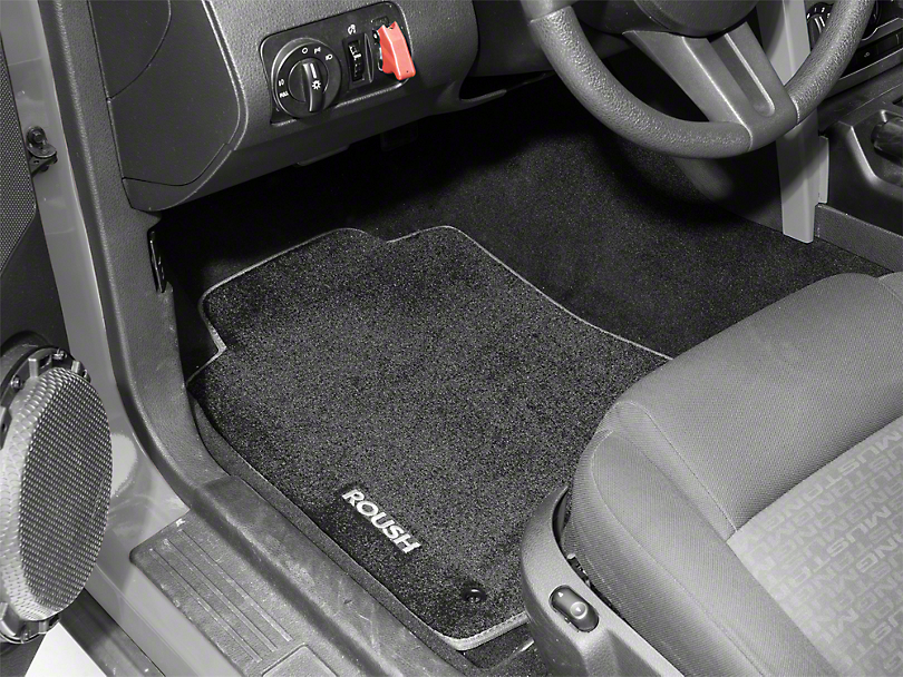 Roush Embroidered Front & Rear Floor Mats - Black w/ Gray Trim (05-09 All)