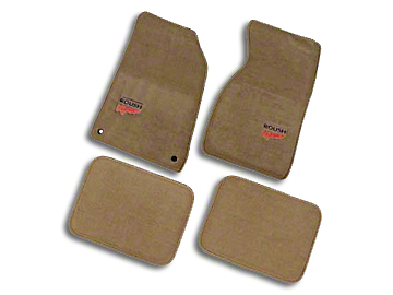 Roush Embroidered Front & Rear Floor Mats - Tan (94-04 All)