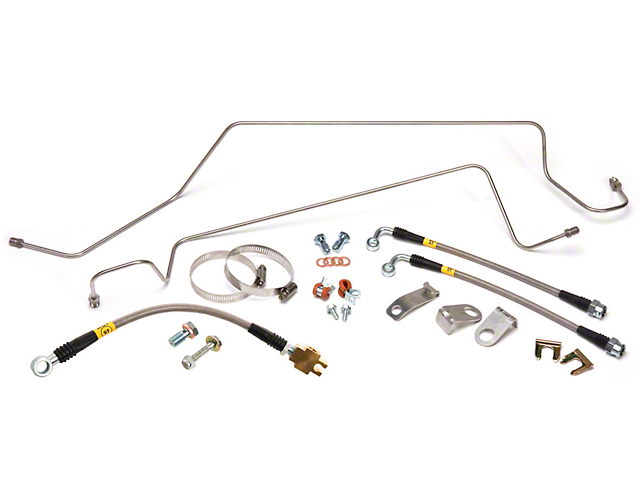 Maximum Motorsports SN95 Caliper Stainless Steel Brake 3-Hose & Hard Line Kit - Rear (86-93 5.0L)