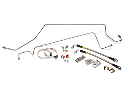 Maximum Motorsports SN95 Caliper Stainless Steel Brake Hose & Hard Line Kit - Rear (86-93 5.0L)