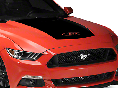 Black Hood Decal w/ Ford Logo (15-17 GT, EcoBoost, V6)