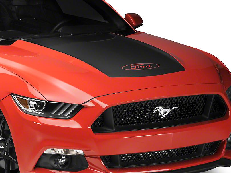 Matte Black Hood Decal w/ Ford Logo (15-17 GT, EcoBoost, V6)