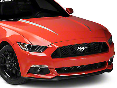 Silver Hood Accent w/ Mustang Lettering (15-17 GT, EcoBoost, V6)