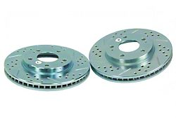 Baer Sport Drilled and Slotted Rotors; Rear Pair (84-86 SVO)