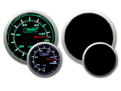 Prosport Dual Color Oil Pressure Gauge - Electrical - Green/White (79-18 All)
