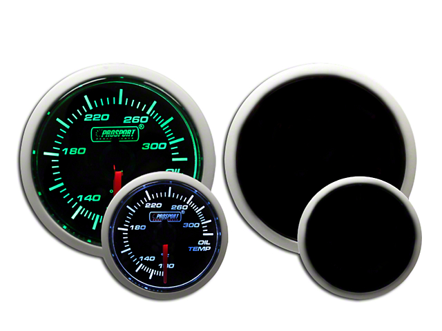 Prosport Dual Color Oil Temperature Gauge - Green/White (79-18 All)