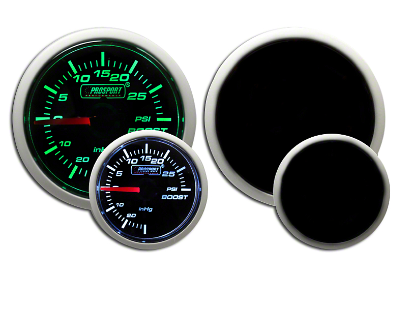Prosport 52mm Performance Series Boost Gauge; Mechanical; 30 PSI; Green/White (Universal Fitment)