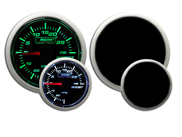 Prosport Dual Color Pressure Boost Gauge - Mechanical - Green/White (79-19 All)