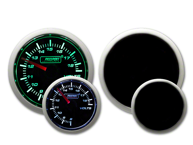 Prosport 52mm Performance Series Volt Gauge; Electrical; Green/White (Universal Fitment)