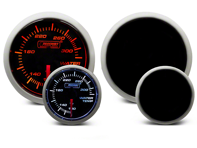 Prosport 52mm Performance Series Water Temperature Gauge; Electrical; Amber/White (Universal Fitment)