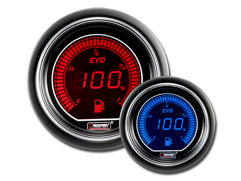 Prosport Dual Color Evo Fuel Level Gauge - Electrical - Red/Blue (79-18 All)