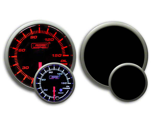 Prosport 60mm Premium Series Oil Pressure Gauge; Electrical; 0-150 PSI; Amber/White (Universal Fitment)