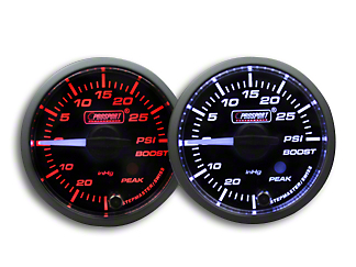Prosport Dual Color Premium White Pointer Boost Gauge - Amber/White (79-18 All)