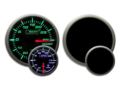 Prosport Dual Color Premium White Pointer Boost Gauge - Green/White (79-19 All)