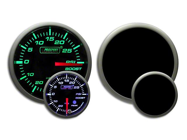 Prosport 52mm Premium Series White Pointer Boost Gauge; Electrical; Green/White (Universal Fitment)
