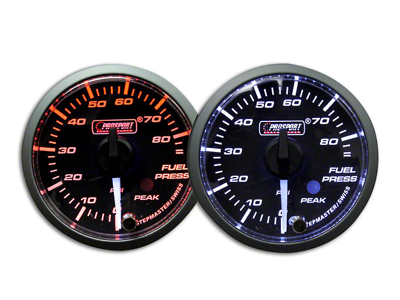 Prosport Dual Color Premium White Pointer Fuel Pressure Gauge - Amber/White (79-18 All)