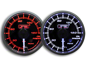 Prosport Dual Color Premium White Pointer Oil Pressure Gauge - Amber/White (79-18 All)