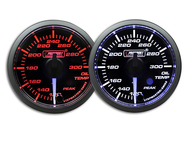 Prosport Dual Color Premium White Pointer Oil Temperature Gauge - Amber/White (79-18 All)