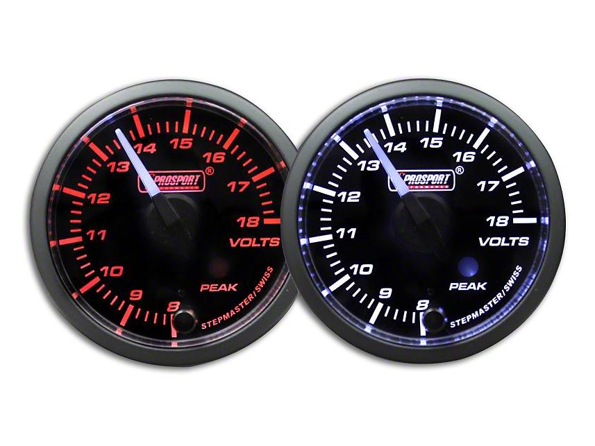 Prosport Dual Color Premium White Pointer Volt Gauge - Amber/White (79-18 All)