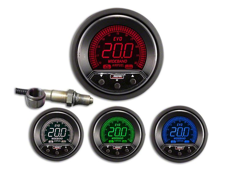 Prosport 52mm Premium EVO Series Evo Digital Wideband Air/Fuel Ratio Gauge; Blue/Red/Green/White (Universal Fitment)