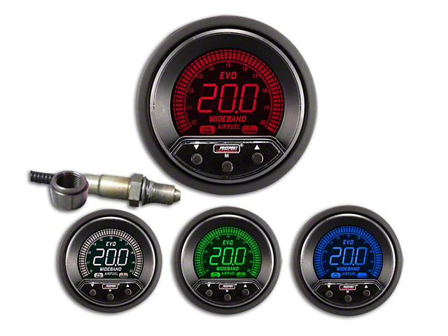 Prosport 52mm Premium EVO Series Evo Digital Wideband Air/Fuel Ratio Gauge; Blue/Red/Green/White (Universal Fitment)