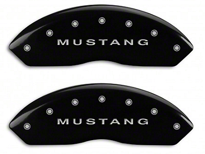 MGP Black Caliper Covers w/ Tri-Bar Pony Logo - Front & Rear (94-04 Cobra, Bullitt, Mach 1)