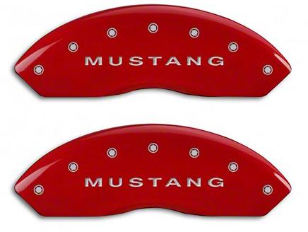 MGP Red Caliper Covers w/ Tri-Bar Pony Logo - Front & Rear (94-04 Cobra, Bullitt, Mach 1)