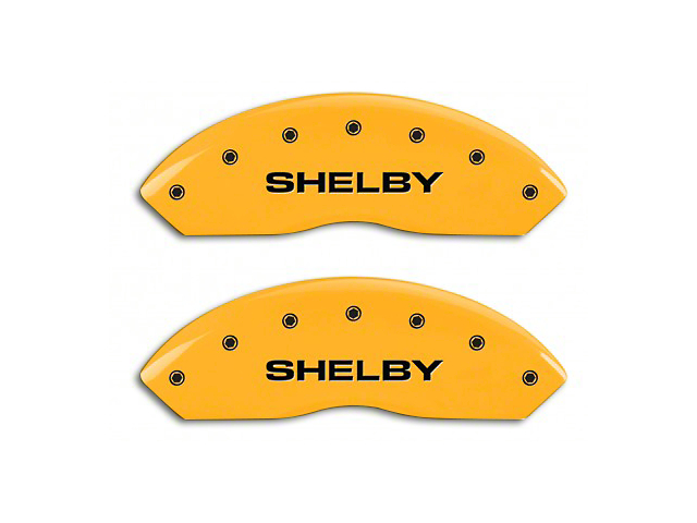 MGP Yellow Caliper Covers with Shelby Snake Logo; Front and Rear (10-14 Standard GT)