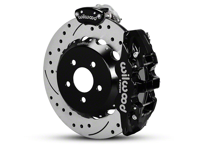 Wilwood AERO4 MC4 Rear Brake Kit w/ Drilled & Slotted Rotors - Black (15-19 All)