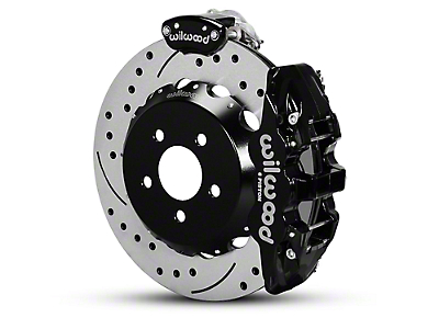 Wilwood AERO4 MC4 Rear Brake Kit w/ Drilled & Slotted Rotors - Black (15-18 All)