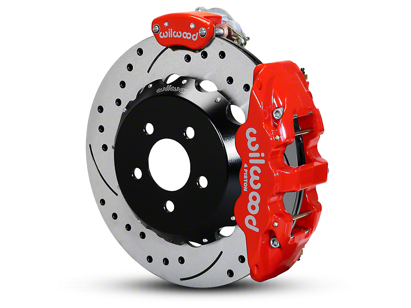 Wilwood AERO4 MC4 Rear Brake Kit w/ Drilled & Slotted Rotors - Red (15-19 All)