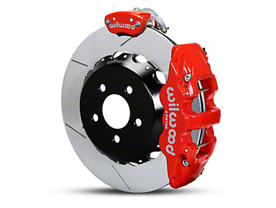 Wilwood AERO4 MC4 Rear Brake Kit w/ Slotted Rotors - Red (15-18 All)
