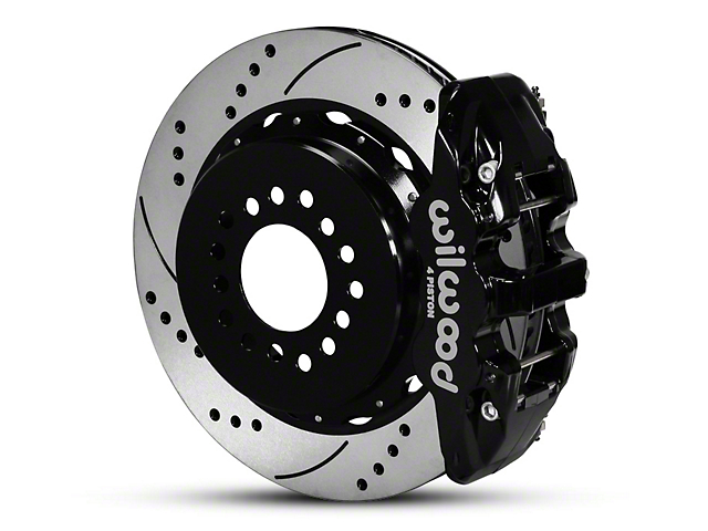 Wilwood AERO4 Rear Brake Kit w/ Drilled & Slotted Rotors - Black (05-14 All)