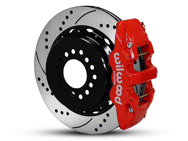 Wilwood AERO4 Rear Big Brake Kit with Drilled and Slotted Rotors; Red Calipers (05-14 All)