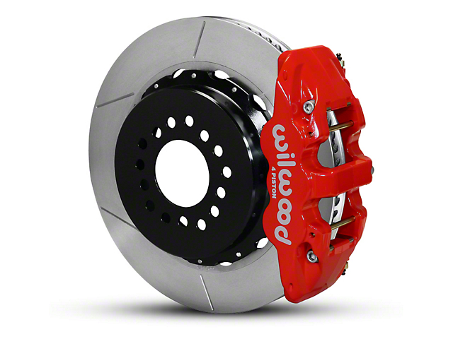 Wilwood AERO4 Rear Big Brake Kit with Slotted Rotors; Red Calipers (05-14 All)