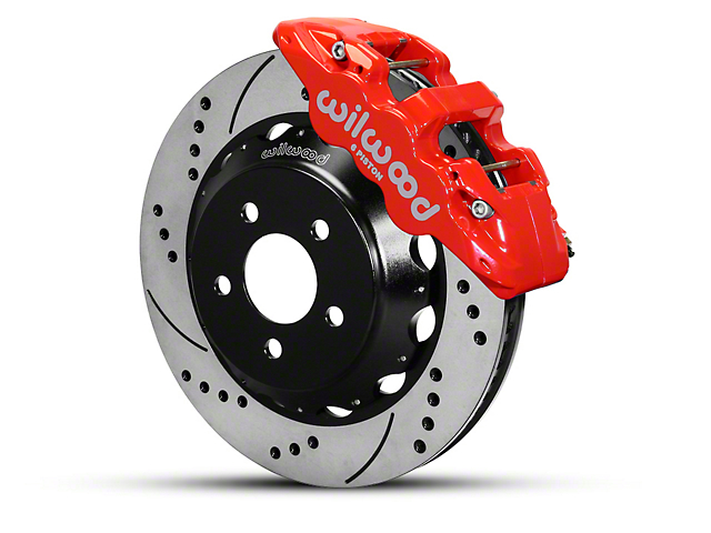 Wilwood AERO6 Front Big Brake Kit with 14-Inch Drilled and Slotted Rotors; Red Calipers (15-20 All)