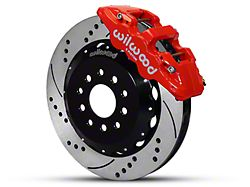 Wilwood AERO6 Front Big Brake Kit with Drilled and Slotted Rotors; Red Calipers (05-14 All)