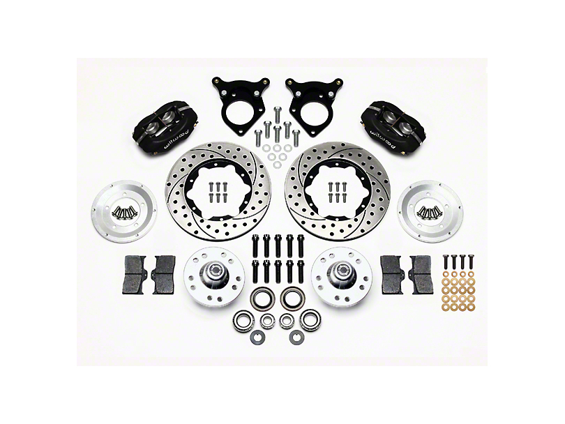 Wilwood Forged Dynalite Pro Series Front Brake Kit w/ Drilled & Rotors - Black (87-93 w/ 5-Lug Conversion)