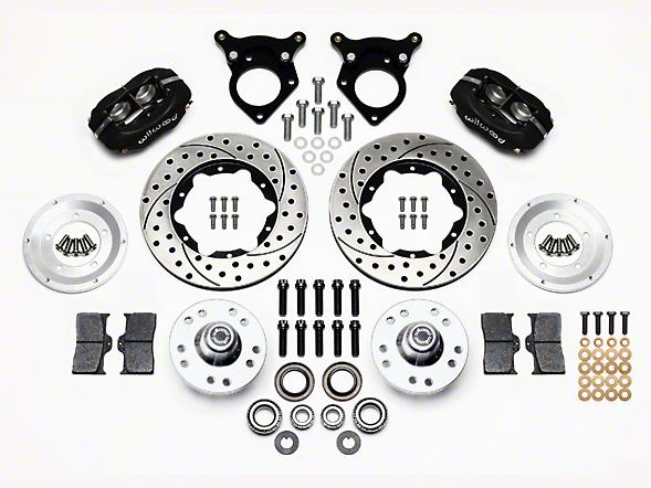 Wilwood Forged Dynalite Pro Series Front Brake Kit w/ Drilled & Rotors - Black (87-93 w/ 5-Lug Conversion)