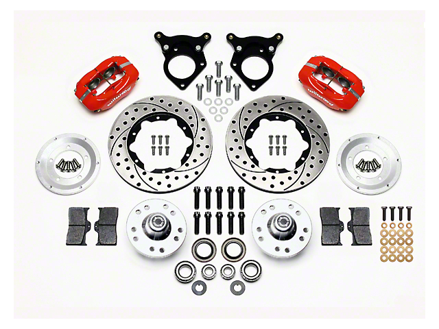 Wilwood Forged Dynalite Pro Series Front Brake Kit w/ Drilled & Rotors - Red (87-93 w/ 5-Lug Conversion)