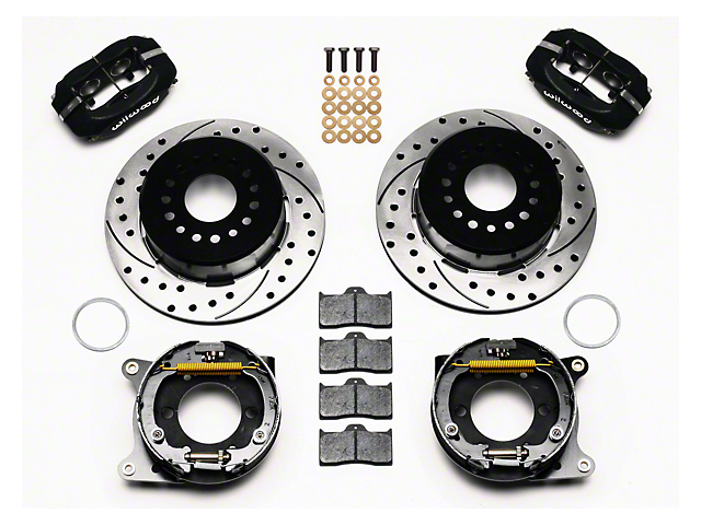 Wilwood Forged Dynalite Rear Brake Kit w/ Drilled & Slotted Rotors - Black (05-14 All)