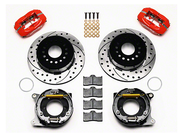Wilwood Forged Dynalite Rear Brake Kit w/ Drilled & Slotted Rotors - Red (05-14 All)